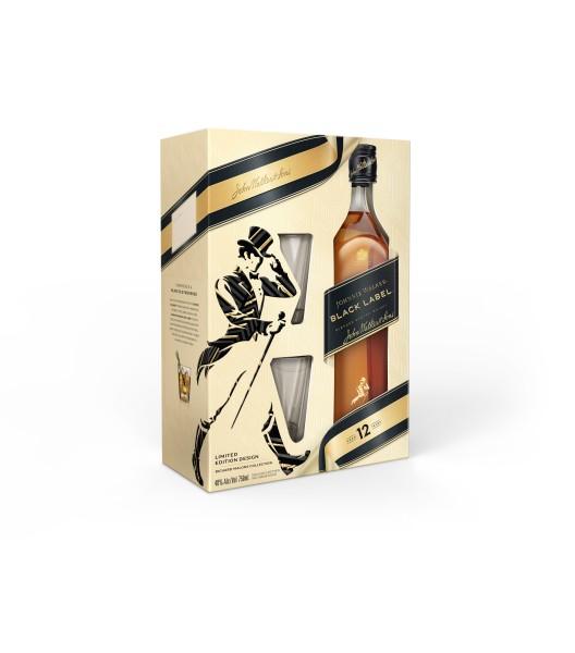 Johnnie Walker Black Label Geschenkpackung mit 2 Gläsern