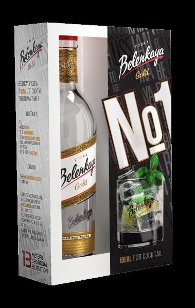 Belenkaya Gold Russian Vodka, 40 % vol. 700ml mit Glas