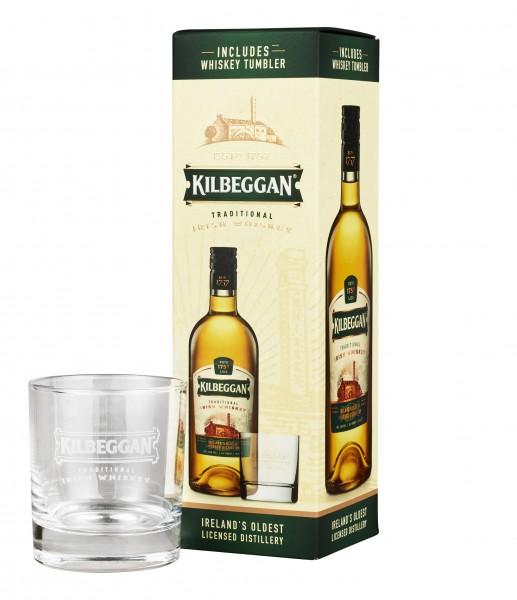 Kilbeggan Irish Whiskey 0,7l 40% Geschenkset mit Glas