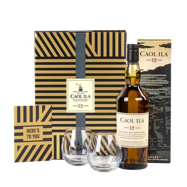 Caol Ila 12 Jahre Islay Single Malt Scotch Whisky 0,7l im Geschenkset mit Gläsern & Grußkarte