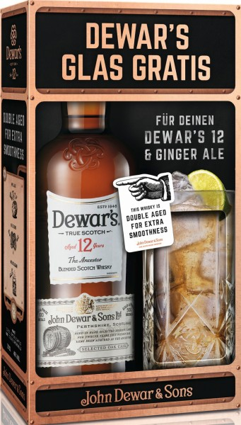 Dewar's 12 Years 40% vol. mit Glas