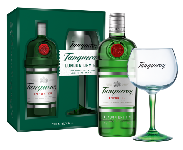 Tanqueray London Dry Gin Geschenkverpackung mit Copa Glas
