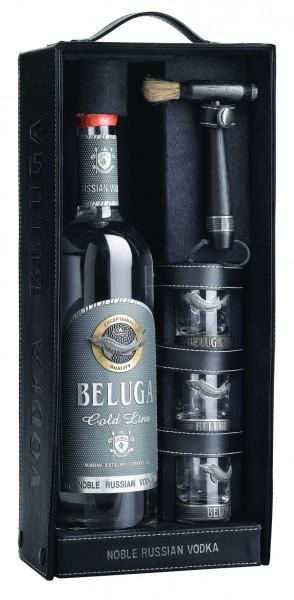 Beluga Geschenkpackung Gold Line Vodka 40% vol. 700ml in Leder mit 3 Shots
