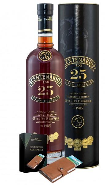 Centenario Rum 25 Gran Reserva 40% mit hochwertigem Wallet