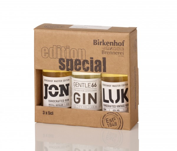 """Birkenhof Tasting-Set Edition: """"Special handcrafted 03"""" - JON Rum, Gentle66 Gin, Fading Hill Whisky"""