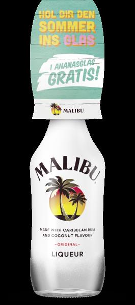 Malibu mit Ananas-Glas on Pack
