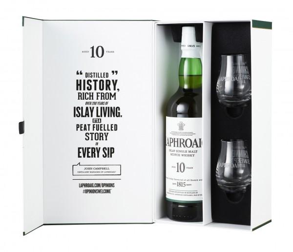 Laphroaig 10 Years Old Islay Single Malt Scotch Whisky 0,7l 40% Geschenkset mit 2 Gläsern