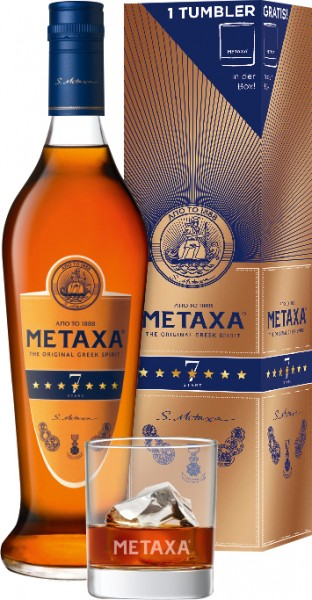 Metaxa 7Stern Amphora 40% + Tumbler